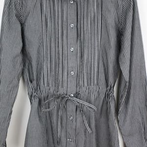 NWOT. Cinch Waist Grey & White Pinstripe Shirt, XS
